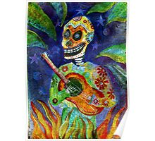 Mariachi Gutar Player Day of the Dead Skeleton Poster