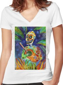 Mariachi Gutar Player Day of the Dead Skeleton Women's Fitted V-Neck T-Shirt