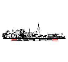 Pardubice skyline city black Photographic Print