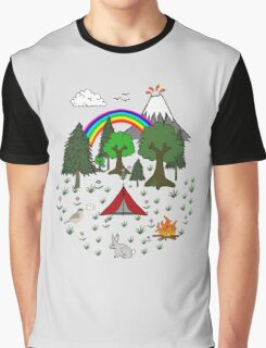 Cartoon Camping Scene Graphic T-Shirt