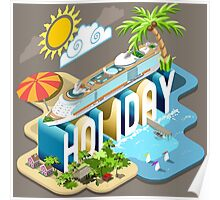 Cruise-Holiday-Vehicle-Isometric Poster