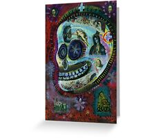 Day of the Dead - White Flower Covered Sugar Skull painting Greeting Card