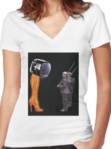 Under Scrutiny of the Boot Women's Fitted V-Neck T-Shirt