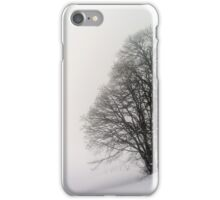 Beautiful winter snowy landscape with fog, alsacien mountains iPhone Case/Skin