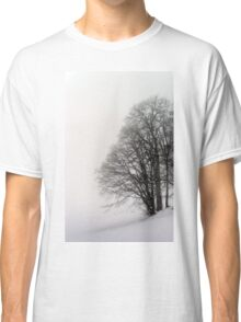 Beautiful winter snowy landscape with fog, alsacien mountains Classic T-Shirt