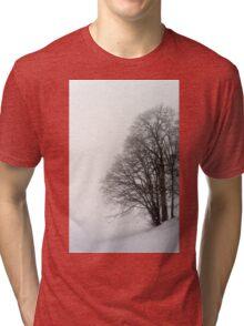 Beautiful winter snowy landscape with fog, alsacien mountains Tri-blend T-Shirt