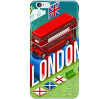 London-Bus-Postcard-Isometric iPhone Case/Skin