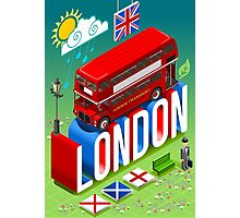 London-Bus-Postcard-Isometric Photographic Print