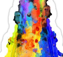 Rainbow Spaceship Light Background Sticker