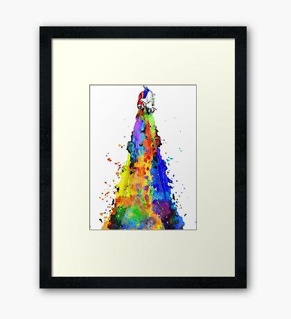 Rainbow Spaceship Light Background Framed Print