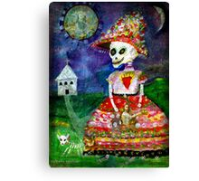 KATRINA walking her dog - Day of the Dead Canvas Print