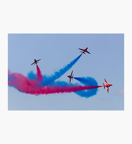 Red Arrows Red and Blue Break Photographic Print