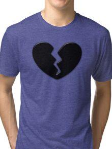 Broken Heart Love Black Dark Tri-blend T-Shirt