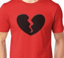 Broken Heart Love Black Dark Unisex T-Shirt