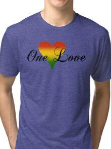 One Love Heart Green Tri-blend T-Shirt