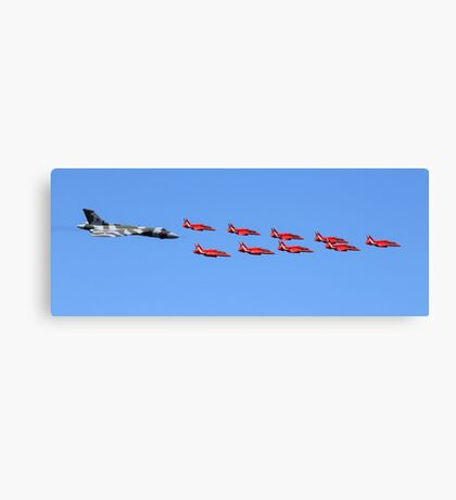 Vulcan XH558 Red Arrows flyby RIAT 2015 Canvas Print