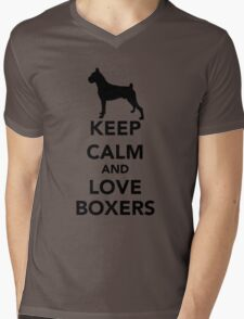 Keep Calm Love Boxers Dogs Mens V-Neck T-Shirt