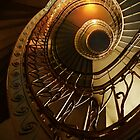 Golden and brown spiral stairs by JBlaminsky