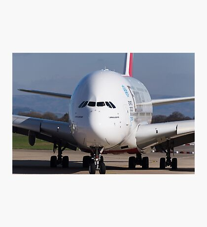 Emirates A380 Head On Photographic Print