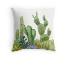 Milagritos Rainbow Cacti on White Background Throw Pillow