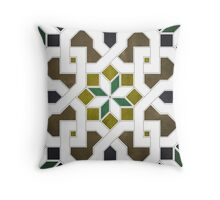 Oriental tile pattern - black, brown Throw Pillow