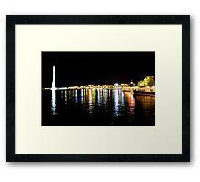 Lake Geneva by night Framed Print