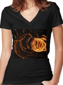 Fire Swirls Women's Fitted V-Neck T-Shirt