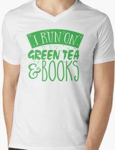 I run on green tea and books Mens V-Neck T-Shirt