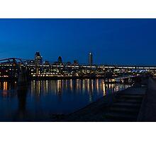 British Symbols and Landmarks - Millennium Bridge and Thames River at Low Tide Photographic Print