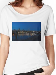 British Symbols and Landmarks - Millennium Bridge and Thames River at Low Tide Women's Relaxed Fit T-Shirt