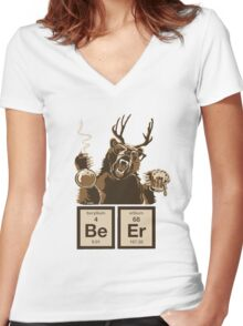 Chemistry bear discovered beer Women's Fitted V-Neck T-Shirt