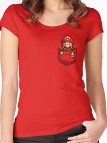 Pocket Mario  Women's Fitted Scoop T-Shirt