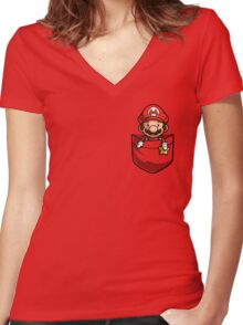 Pocket Mario  Women's Fitted V-Neck T-Shirt