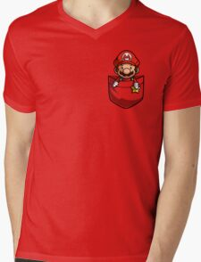 Pocket Mario  Mens V-Neck T-Shirt