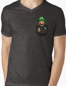 Pocket Luigi Mens V-Neck T-Shirt