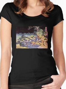 'Ocean Landscape' by Katsushika Hokusai (Reproduction) Women's Fitted Scoop T-Shirt