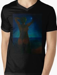 Girl at night on the beach Mens V-Neck T-Shirt