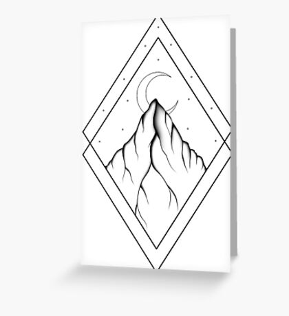 Mountain: Black and White Greeting Card