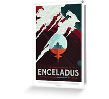 Retro NASA Space Poster - Enceladus Greeting Card