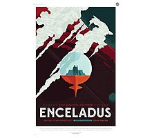 Retro NASA Space Poster - Enceladus Photographic Print