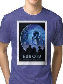 Retro NASA Space Poster - Europa Tri-blend T-Shirt