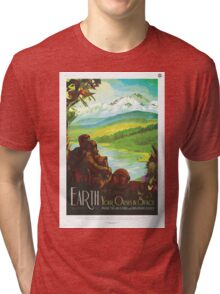 Retro NASA Space Poster - Earth Tri-blend T-Shirt