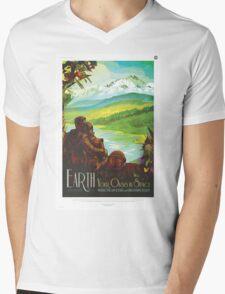 Retro NASA Space Poster - Earth Mens V-Neck T-Shirt