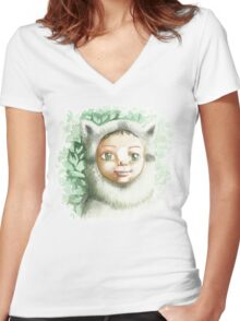 racoon child Women's Fitted V-Neck T-Shirt