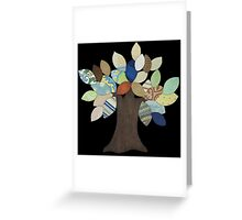 Silver Tree on Black Greeting Card