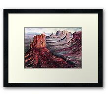 Monument Valley - Watercolor Landscape Painting Framed Print