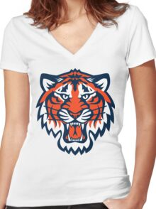 THE DETROIT TIGERS Women's Fitted V-Neck T-Shirt