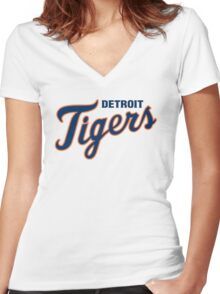 DETROIT TIGERS ALL THE TIME Women's Fitted V-Neck T-Shirt