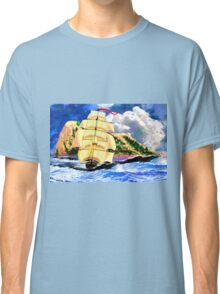 The Golden Clipper in Rough Sea at Gibraltar 2 Classic T-Shirt