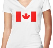 Canadian Flag Women's Fitted V-Neck T-Shirt